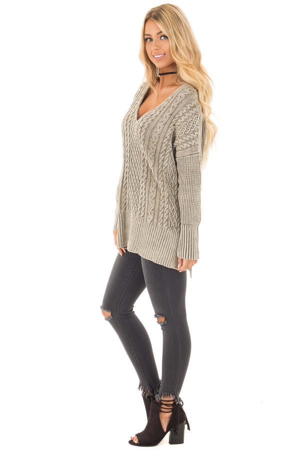 Faded Olive Cable Knit V Neck Sweater side full body
