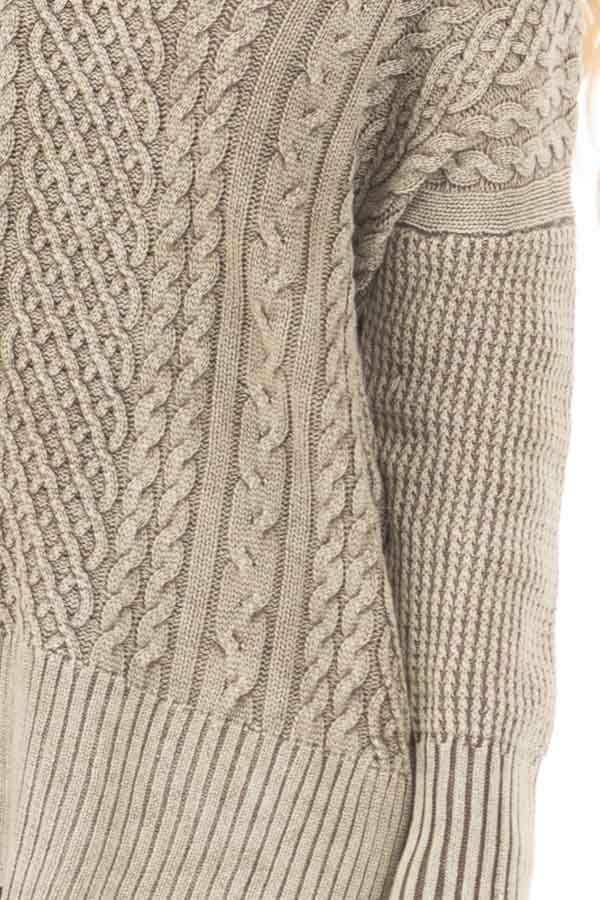 Faded Olive Cable Knit V Neck Sweater detail