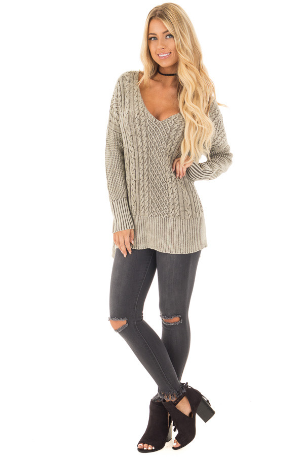 Faded Olive Cable Knit V Neck Sweater front full body