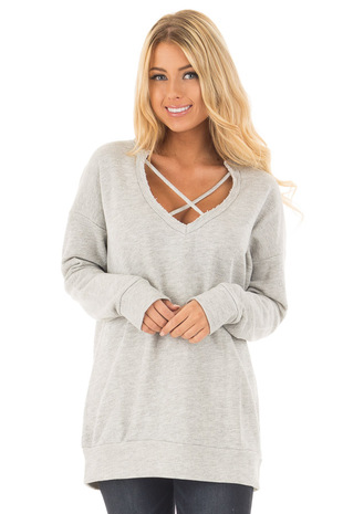 Heather Grey Oversized Sweater with Criss Cross Neckline front close up