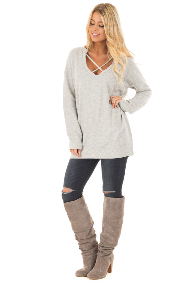Heather Grey Oversized Sweater with Criss Cross Neckline front full body