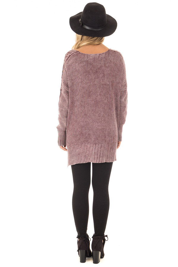 Faded Wine Cable Knit V Neck Sweater back full body