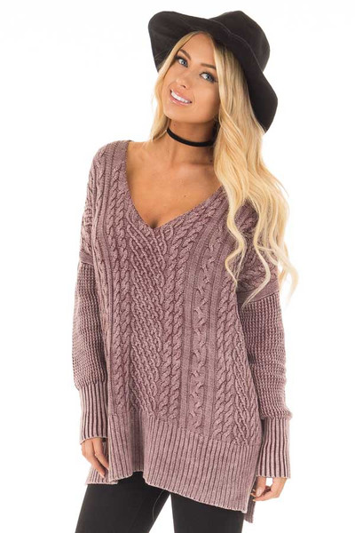 Faded Wine Cable Knit V Neck Sweater front close up