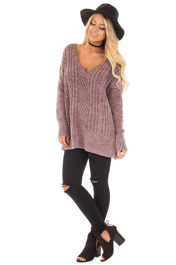 Faded Wine Cable Knit V Neck Sweater front full body