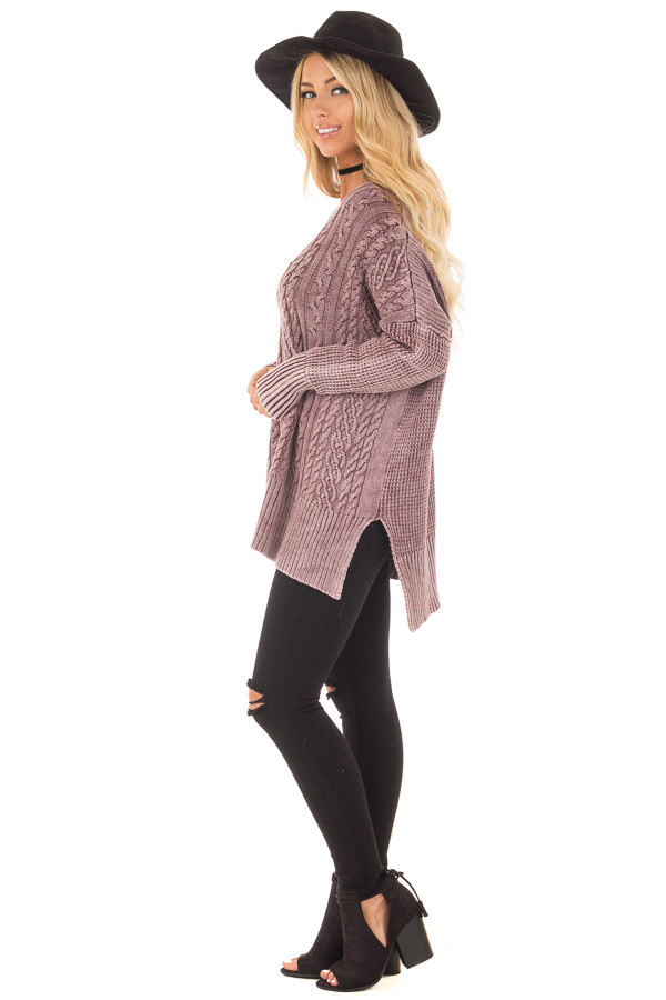 Faded Wine Cable Knit V Neck Sweater side full body
