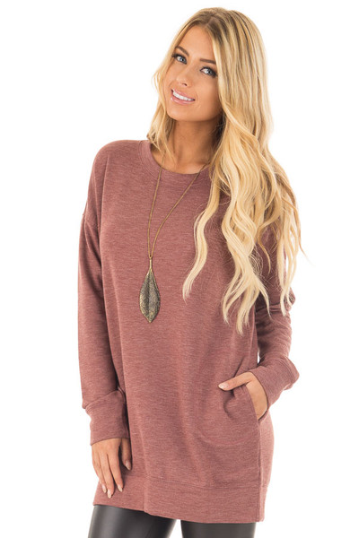 Brick Red Tunic Sweater with Side Pockets front close up
