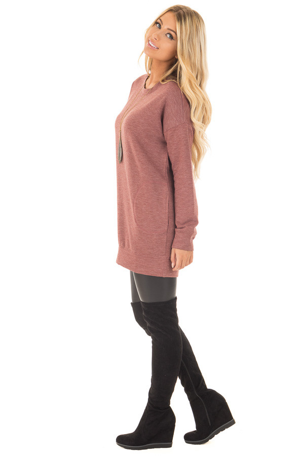 Brick Red Tunic Sweater with Side Pockets side full body