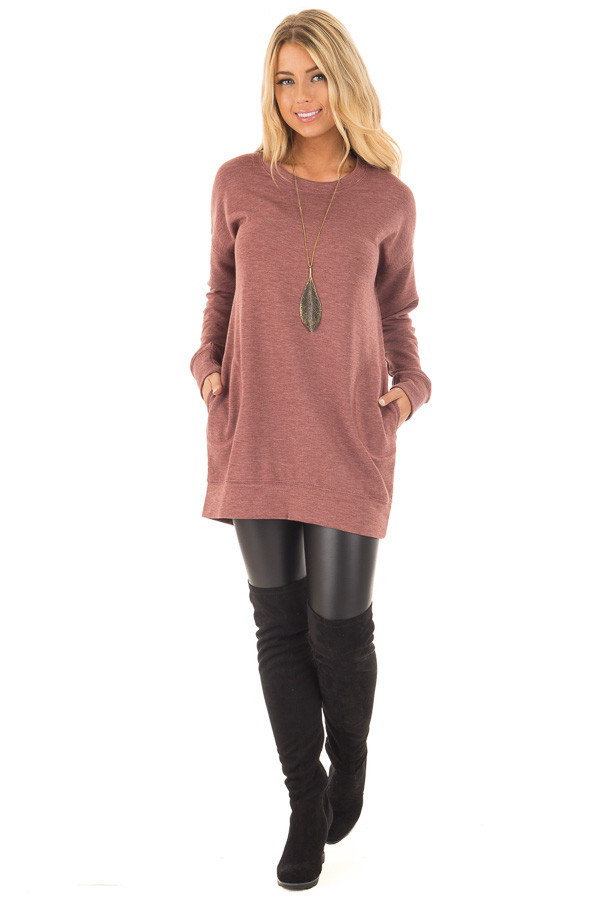 Brick Red Tunic Sweater with Side Pockets front full body