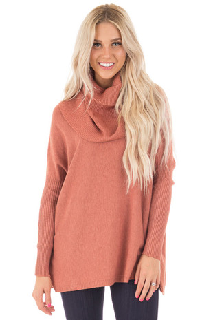 Rust Super Soft Cowl Neck Long Sleeve Sweater front close up