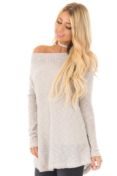Heather Grey Knit Off Shoulder Sweater with Slit Back Detail front close up