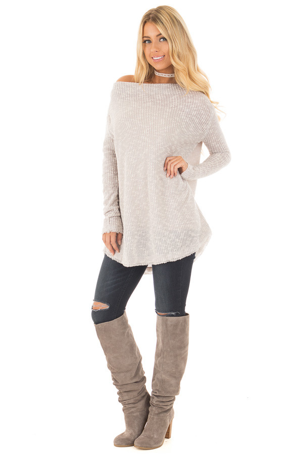Heather Grey Knit Off Shoulder Sweater with Slit Back Detail front full body