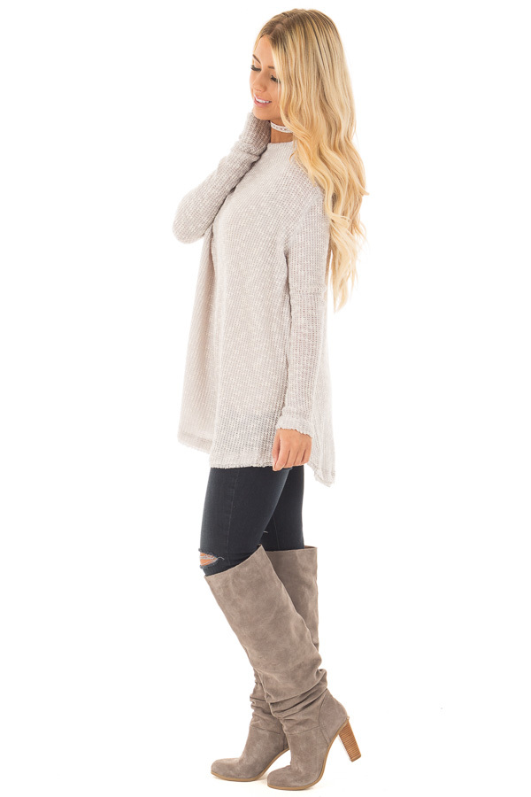 Heather Grey Knit Off Shoulder Sweater with Slit Back Detail side full body