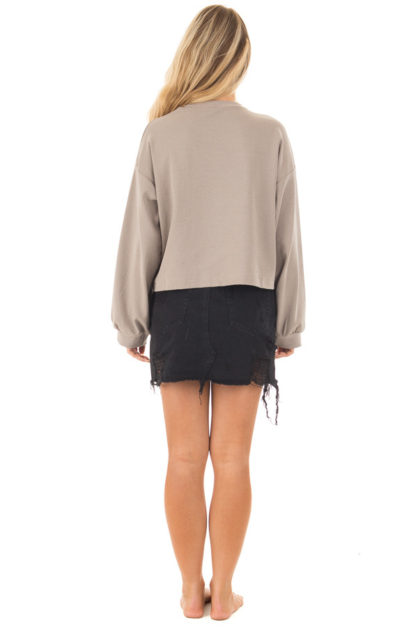 Mocha Long Sleeve Top with O Ring Detail on Neckline back full body