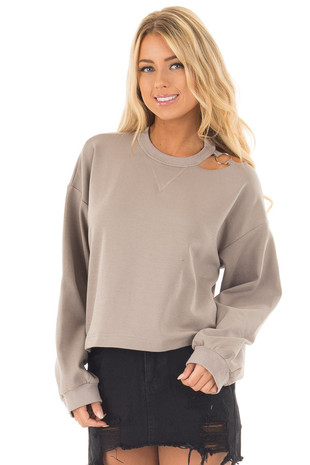 Mocha Long Sleeve Top with O Ring Detail on Neckline front close up