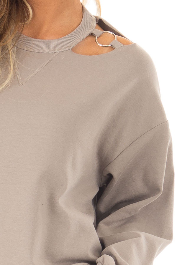Mocha Long Sleeve Top with O Ring Detail on Neckline detail