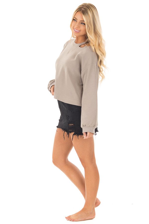 Mocha Long Sleeve Top with O Ring Detail on Neckline side full body