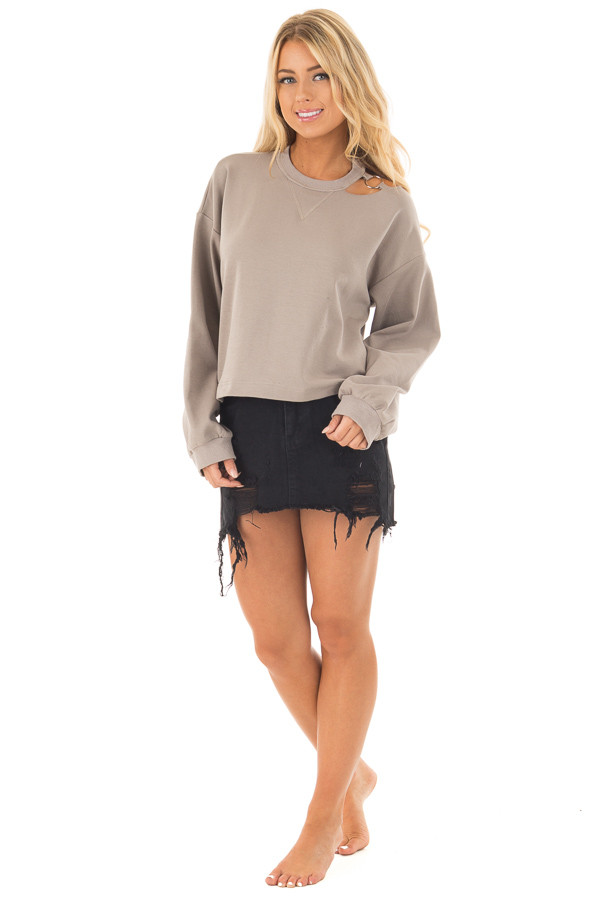 Mocha Long Sleeve Top with O Ring Detail on Neckline front full body