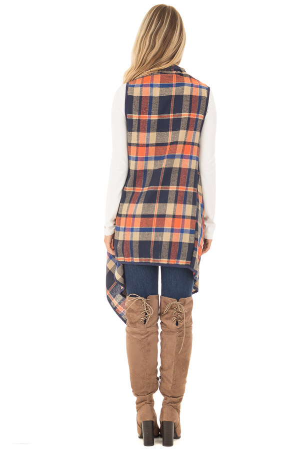 Navy and Rust Plaid Draped Knit Vest back full body