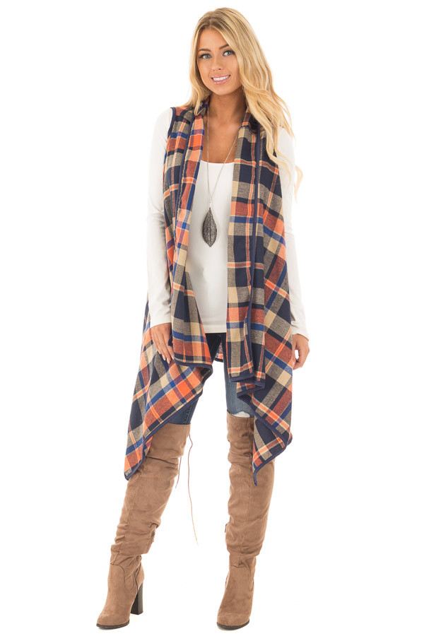 Navy and Rust Plaid Draped Knit Vest front full body