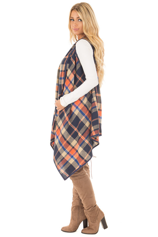 Navy and Rust Plaid Draped Knit Vest side full body