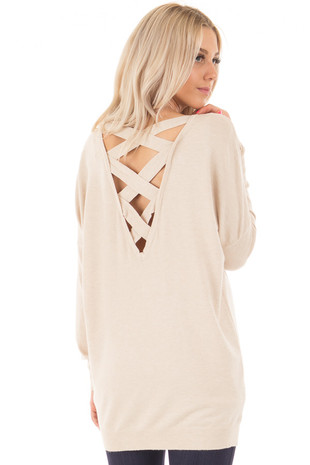 Oatmeal Soft Knit Sweater with Criss Cross Band Back back side close up