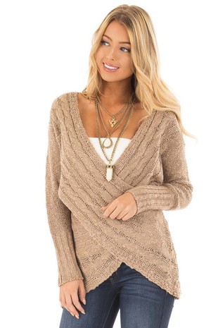 Taupe Cable Knit Cross Over Sweater with Deep Cut Back front close up