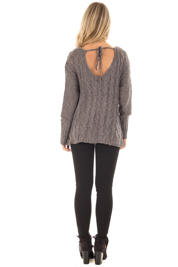 Charcoal Cable Knit Cross Over Sweater with Deep Cut Back back full body