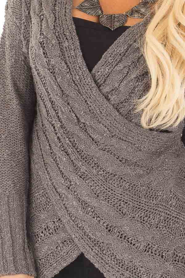 Charcoal Cable Knit Cross Over Sweater with Deep Cut Back detail