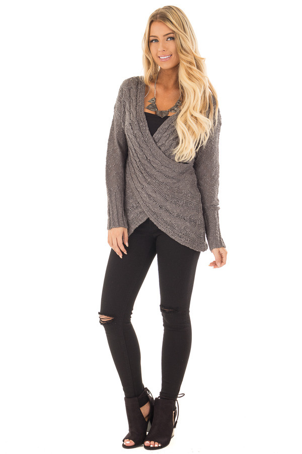 Charcoal Cable Knit Cross Over Sweater with Deep Cut Back front full body
