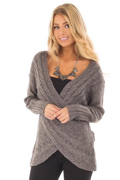 Charcoal Cable Knit Cross Over Sweater with Deep Cut Back front close up