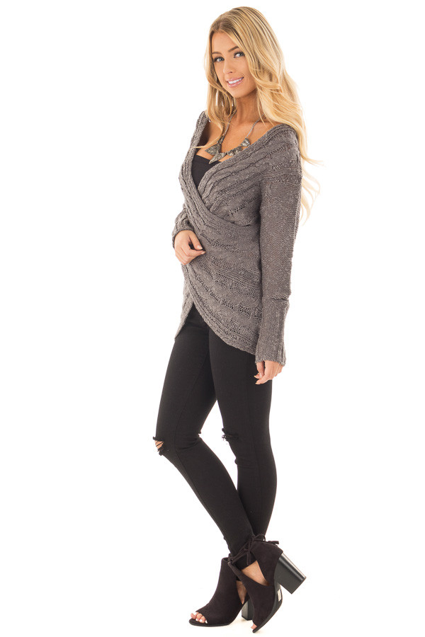 Charcoal Cable Knit Cross Over Sweater with Deep Cut Back side full body
