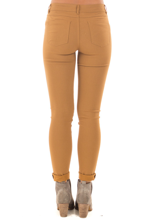 Mustard Solid Colored Skinny Jeans back view