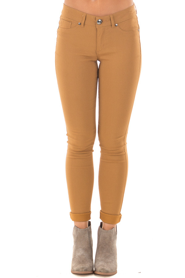 Mustard Solid Colored Skinny Jeans front view