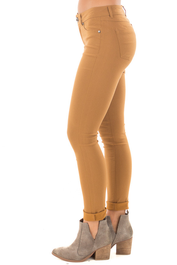 Mustard Solid Colored Skinny Jeans side left leg