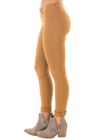 Mustard Solid Colored Skinny Jeans side right leg