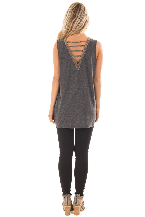Charcoal Knit Tank with Ladder Cut V Neckline Contrast back full body