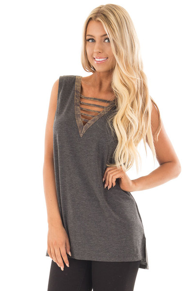 Charcoal Knit Tank with Ladder Cut V Neckline Contrast front close up