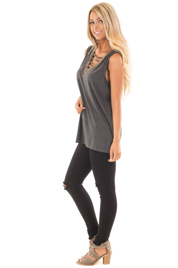 Charcoal Knit Tank with Ladder Cut V Neckline Contrast side full body