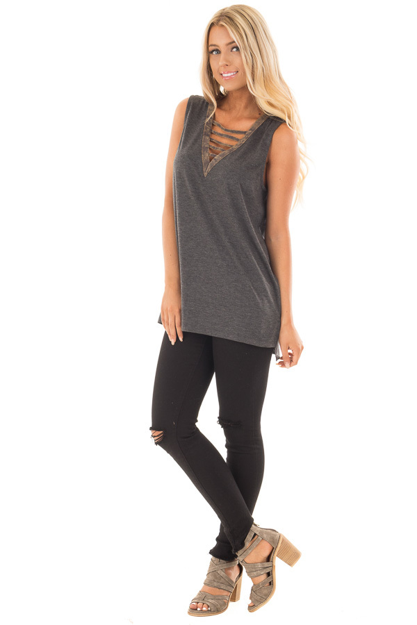 Charcoal Knit Tank with Ladder Cut V Neckline Contrast front full body