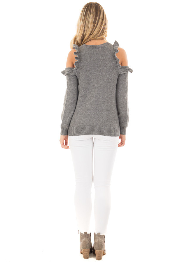 Charcoal Cold Shoulder Sweater with Ruffle Details back full body