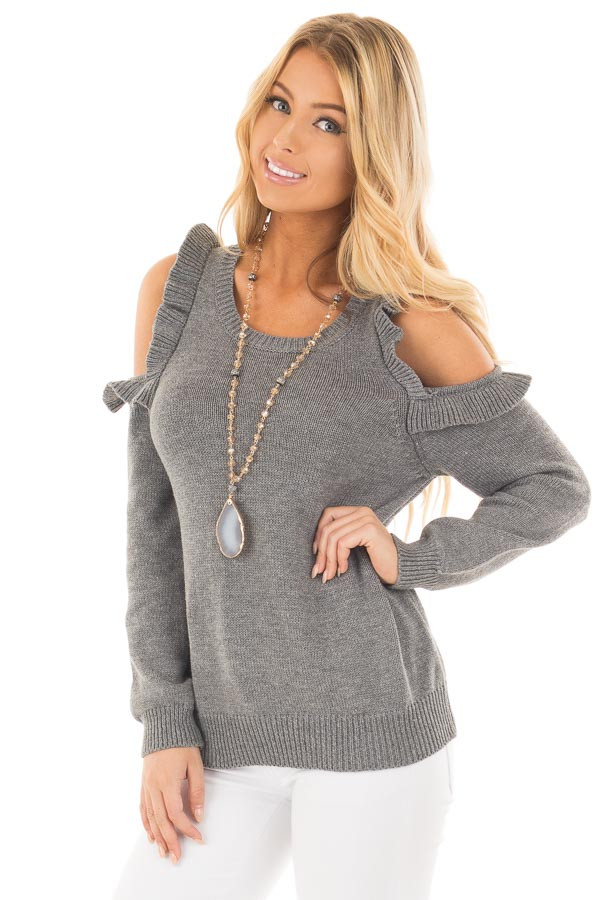 Charcoal Cold Shoulder Sweater with Ruffle Details front close up