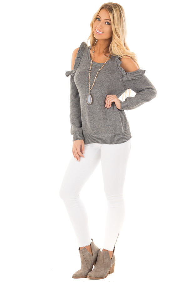 Charcoal Cold Shoulder Sweater with Ruffle Details front full body