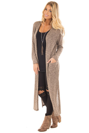 Mocha Two Tone Knit Long Open Cardigan with Side Pockets front full body