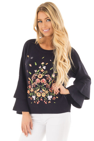 Twilight Navy Embroidered Sweater with Tiered Sleeves front close up