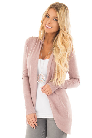 Dusty Mauve Super Soft Long Sleeve Open Cardigan front close up