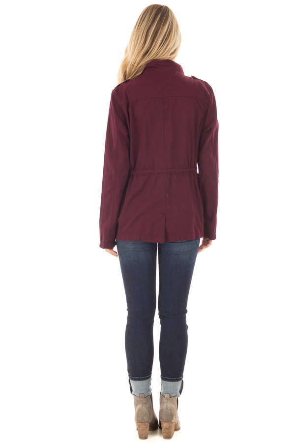 Burgundy Lightweight Military Jacket with Drawstring Waist back full body
