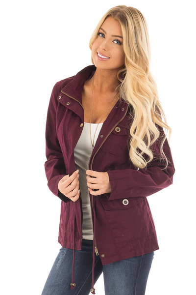 Burgundy Lightweight Military Jacket with Drawstring Waist front close up
