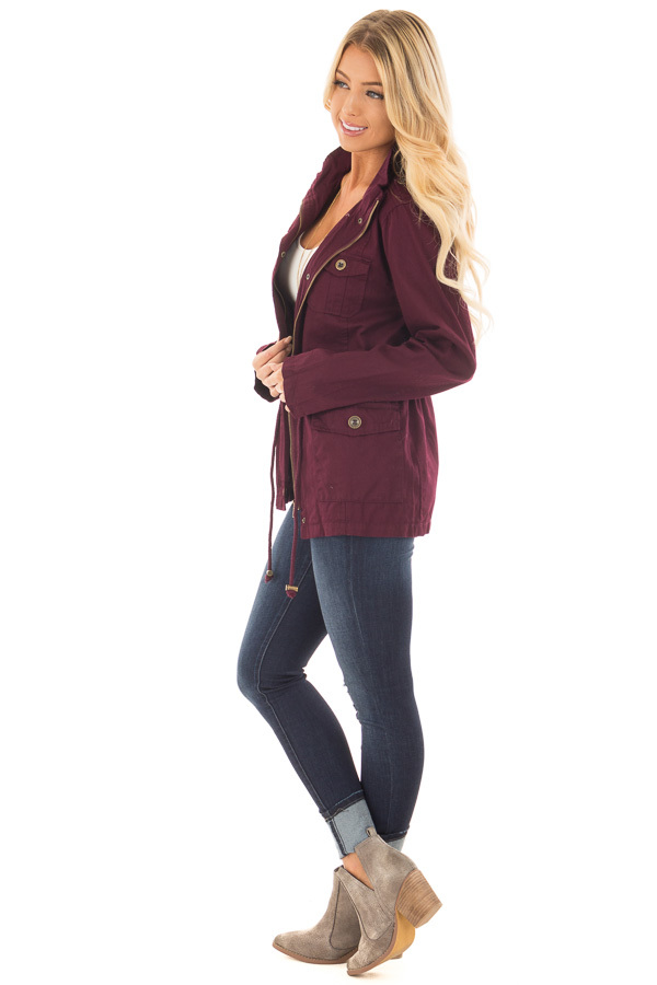 Burgundy Lightweight Military Jacket with Drawstring Waist side full body