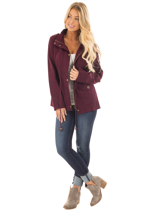 Burgundy Lightweight Military Jacket with Drawstring Waist front full body