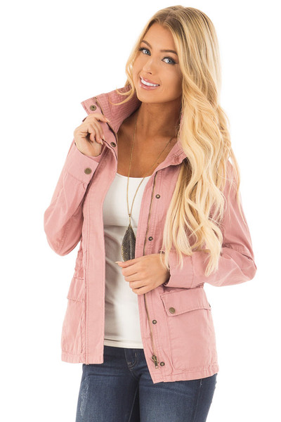 Blush Lightweight Military Jacket with Drawstring Waist front close up